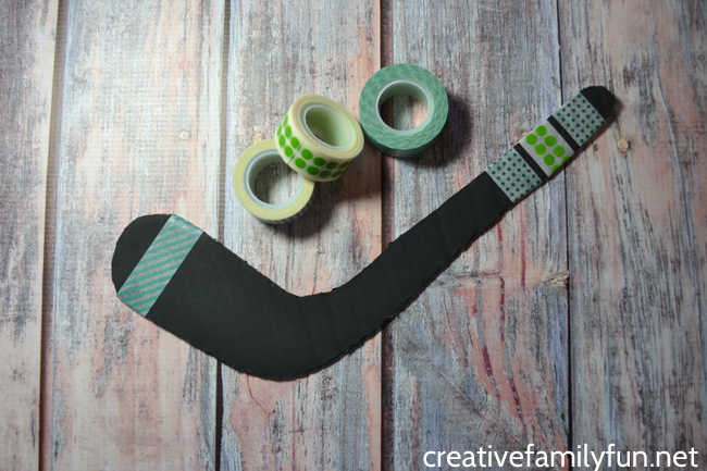 Your young hockey fans will love to make this simple Cardboard Hockey Stick craft. It's fun to make and use to decorate your room.