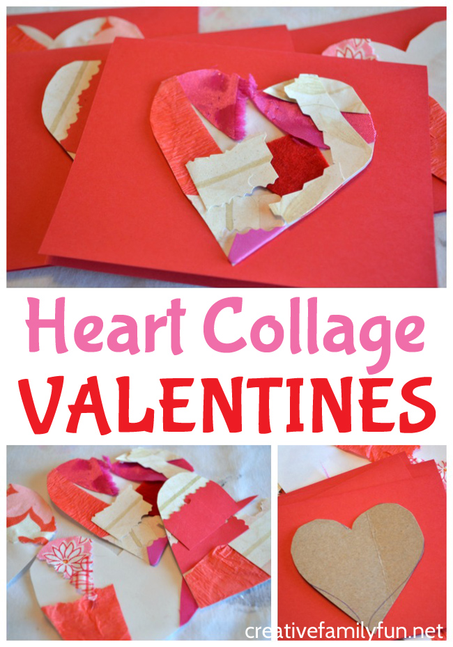 Make beautiful Valentines cards out of textured collages with this Heart Collage Valentines craft for kids. They're so much fun to make!