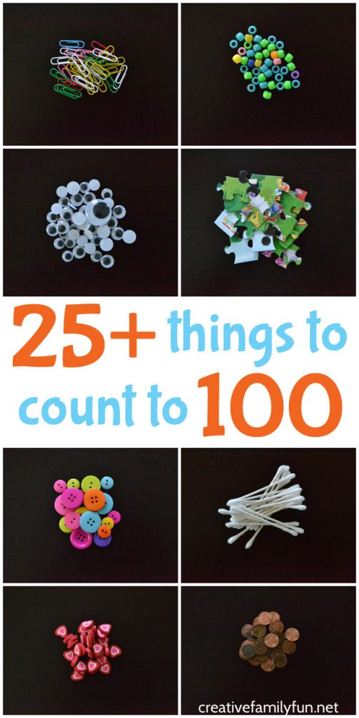 Here are over 25 everyday things to count to 100. They're all small, easy-to-find, and perfect to bring for the 100th day of school.