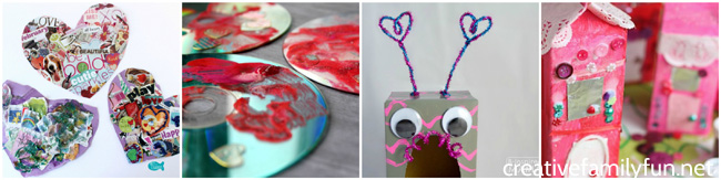 Check your recycle bin for supplies to make these cute and fun Recycled Valentine crafts for kids. You'll want to make them all!