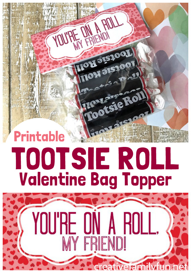 Give your friends a sweet treat with this fun, free printable Tootsie Roll Valentine Bag Topper. It's a great classroom Valentine option.