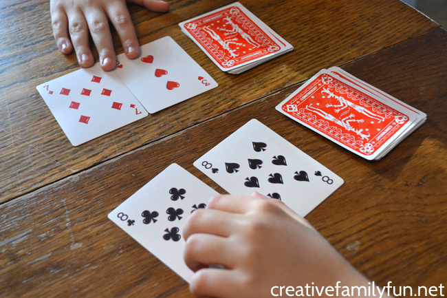 addition war card game  creative family fun