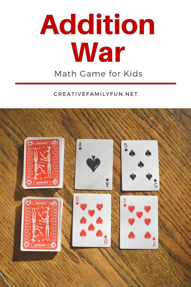 Practice addition with a buddy when you play this easy addition card game, Addition War. It's such a fun way to practice math!