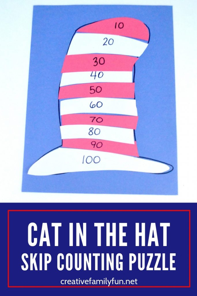 Practice skip counting by tens with this fun Cat in the Hat Skip Counting Puzzle inspired by one of our favorite Dr. Seuss books.