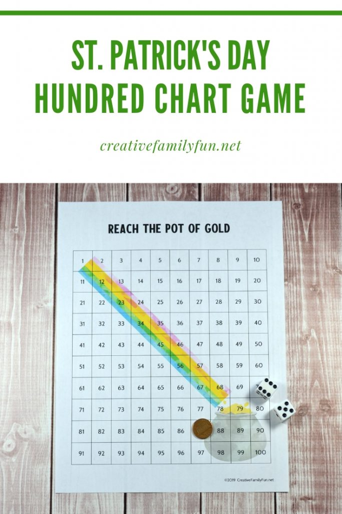 Reach the pot of gold at the end of the rainbow with this fun printable St. Patrick's Day hundred chart game that is perfect for elementary kids.
