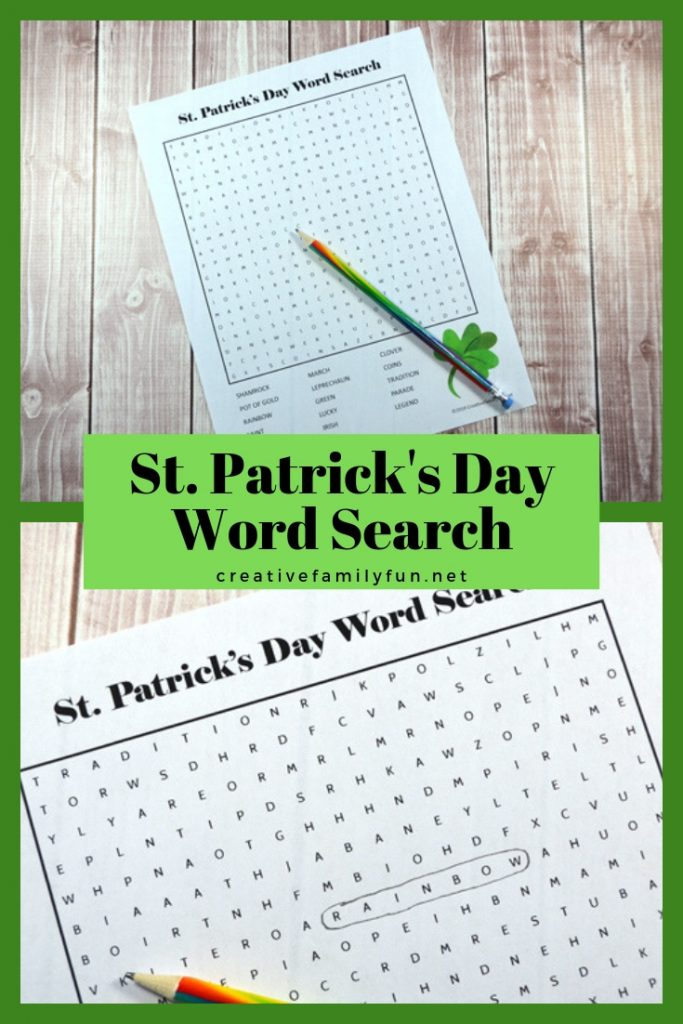 Print out this fun St. Patrick's Day word search for your kids. It's fun for the classroom, waiting rooms, or quiet time at home.