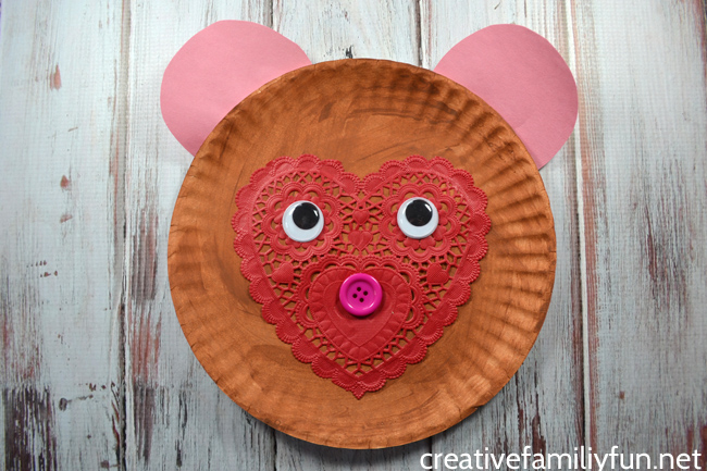 This fun paper plate Valentine bear craft is so easy to make with a few simple supplies. It's perfect for preschoolers to make for Valentine's Day.