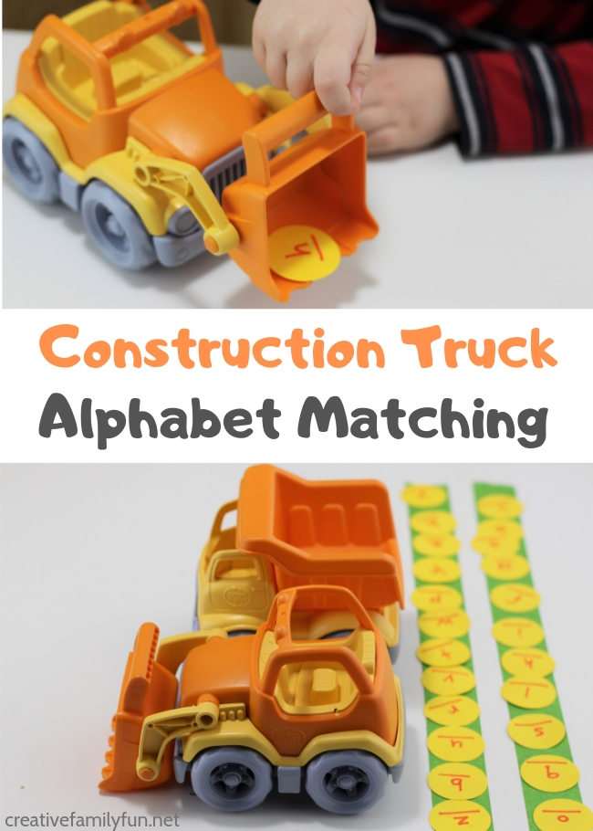 Help your toddler and preschooler learn the alphabet with this fun Construction Truck Alphabet Matching activity. It's a fun and hands-on way to learn.