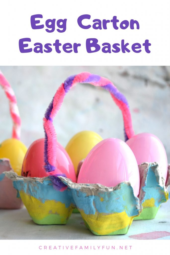 Recycle your empty egg cartons into this simple and pretty Egg Carton Easter Basket craft for kids. It's so much fun to make!