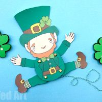 Articulated Leprechaun Paper Puppet for St Patrick's Day - Red Ted Art's Blog