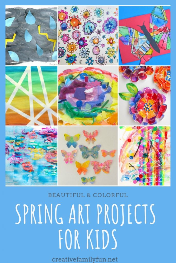 Your kids will love making these beautiful and colorful spring art projects that feature butterflies, rainbows, and flowers.