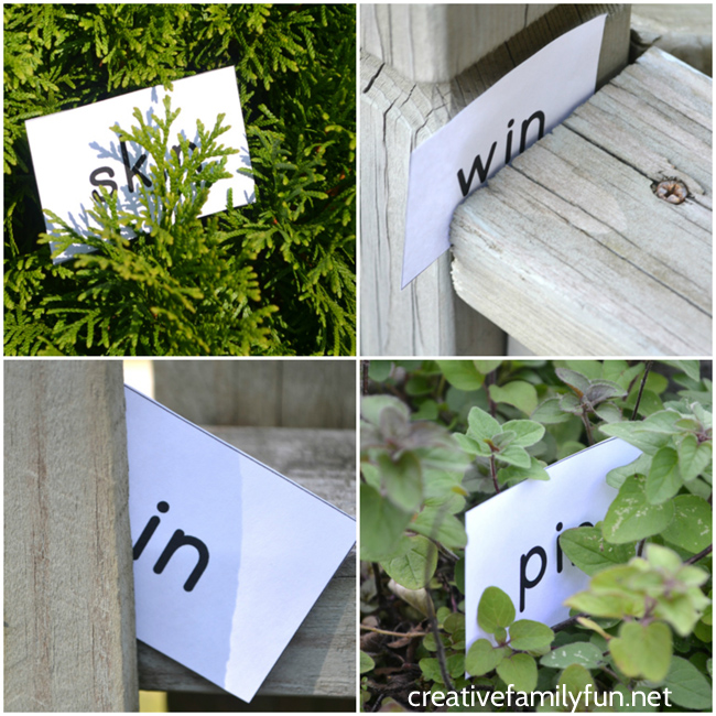 Play hide and seek words outside with your kids to help them learn word families.