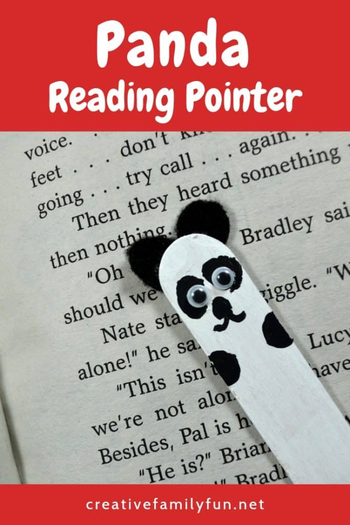 Use a craft stick to make this simple panda reading pointer for kids. It's a fun tool for beginning readers and animal lovers!