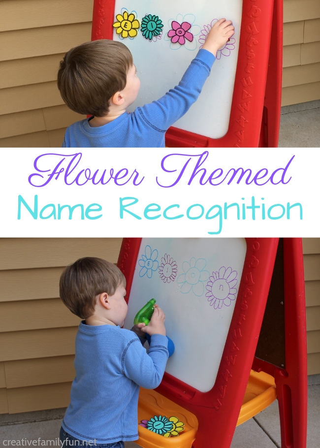 Help your child learn their name with this fun spring activity for toddlers - Flower Name Recognition Activity. It's so easy and so much fun!