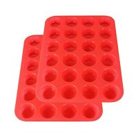 2Packs Silicone Mini Muffin Pan Silicone Cupcake Baking Cups, 24 Non Stick Silicone Molds for Muffin Tins (Red)