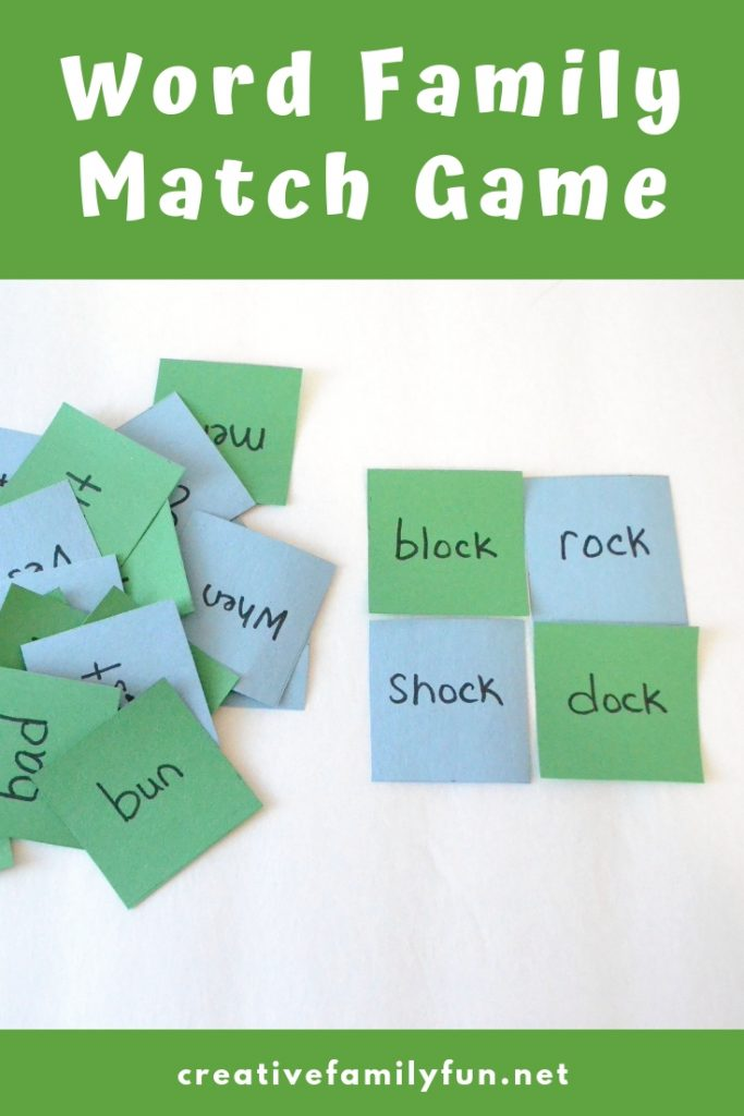 Practice reading and rhyming with this simple word family match game for kids. It's easy to make and can be used for any set of word families.