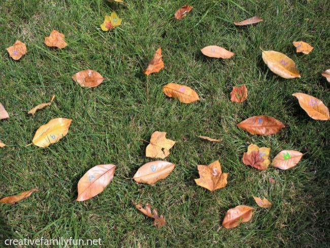 Learn the alphabet with this fun outdoor leaf hunt alphabet game for toddlers and preschoolers. You'll have fun moving and learning!