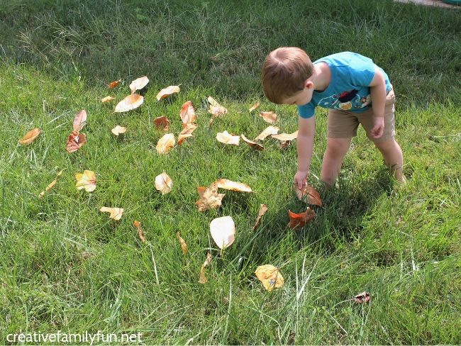 Outdoor fun with this leaf hunt alphabet game