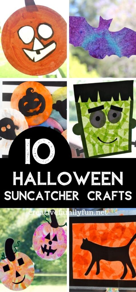 Decorate your windows for Halloween with one of these fun Halloween suncatchers for your kids to make.