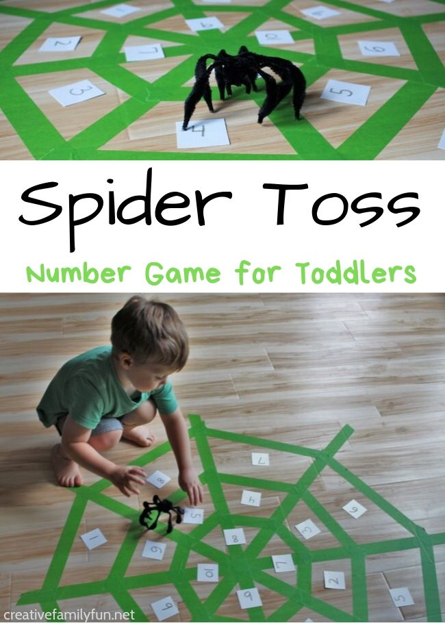 Practice number recognition with your toddlers when you play this fun Spider Toss Number Game. It's so much fun to play and learn!