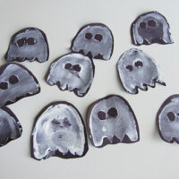 Halloween Garland - Potato Print Ghosts