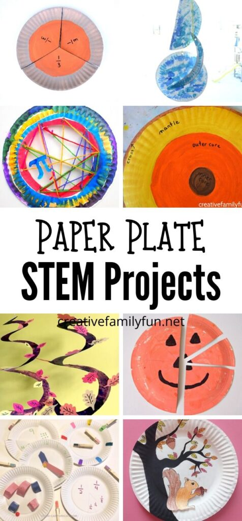 Grab a pack of paper plates to try all of these fun Paper Plate STEM projects for kid. You'll find math, science, engineering, and more.