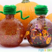 Two Ideas for Making a Pumpkin Glitter Jar