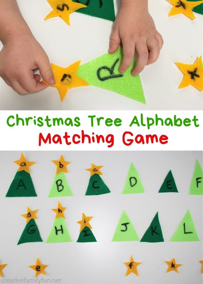 Practice your ABCs with this fun and simple Christmas tree alphabet matching game. This easy-to-make game is fun for toddlers and preschoolers.
