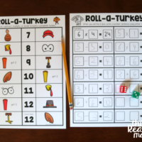 Roll a Turkey Math Facts Dice Game