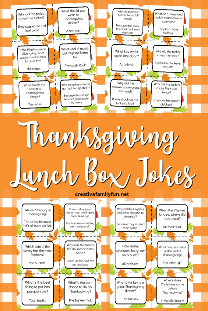 Fun free printable Thanksgiving lunch box jokes.