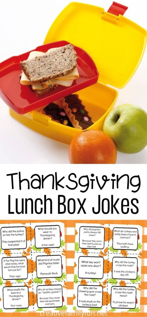 Give your kids a laugh at lunch when you slip one of these fun free printable Thanksgiving Lunch Box Jokes into their lunch bag.