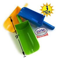 "Matty's Toy Stop 9"" Kids Short Handle Sand Scoop Plastic Shovels (Yellow, Blue & Green) Gift Set Bundle - 3 Pack"