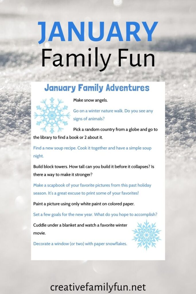 Use this printable for some fun winter family fun ideas to do this January