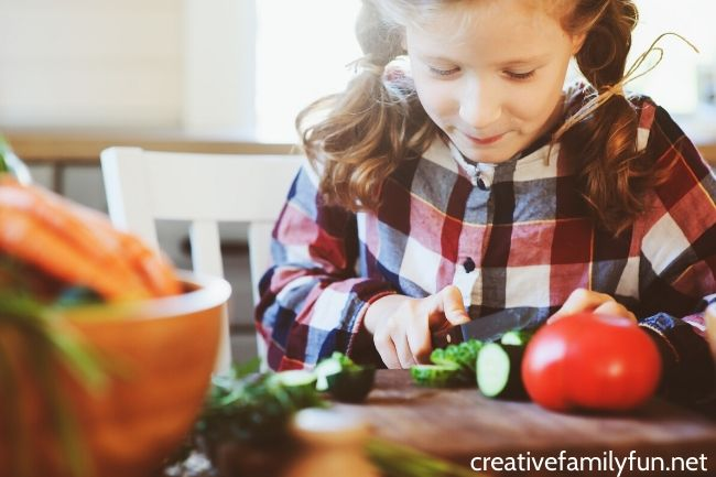 Cooking with kids - cutting veggies