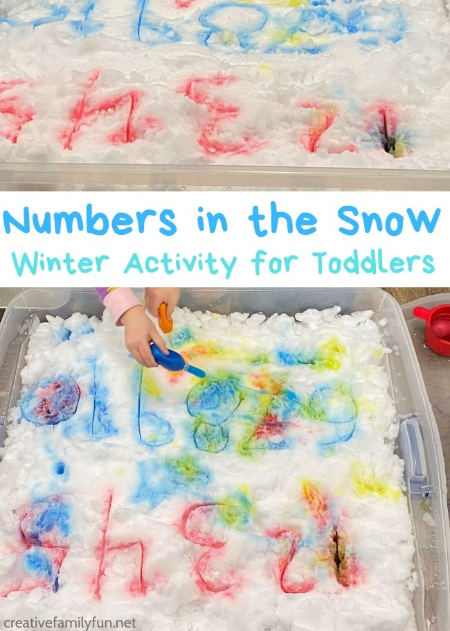 Practice writing and identifying numbers this winter with this fun snow numbers activity for toddlers that you can do indoors.