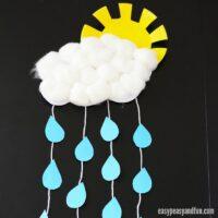 Rain Cloud Paper Craft with a Paper Plate Sun