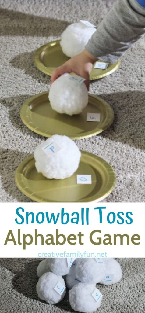 Help your kids learn their ABC's with this fun Snowball Throw Alphabet game for toddlers and  preschoolers.