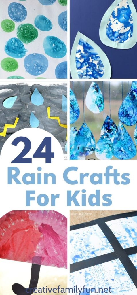 These fun rain and raindrop crafts for kids of all ages are perfect for a rainy day, a weather unit, or any day in between.