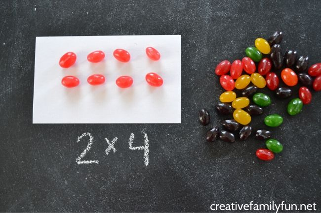 Use jelly beans to practice multiplication arrays.